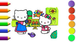 how to draw hello kitty cat coloring pages kids learn drawing