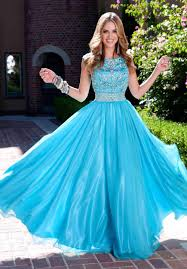 popular blue modest prom dresses with scoop neck crystal beads