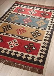 Wool Indian Rugs Kilim Rug Wool Jute Diamond Stripe Indian 4 Sizes Free Anti Slip