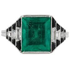 art deco onyx 4 36 carat emerald diamond ring emerald diamond