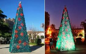 elbasan residents create christmas tree from 2200 recycled plastic