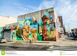 colorful mural wall painting in new york editorial photography brooklyn colorful houses mural new not old painting restored stories usa wall