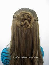 flower hair bun braided pull back flower bun tutorial babesinhairland