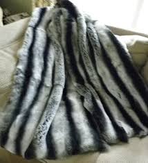 Leopard Print Faux Fur Throw Real Rex Rabbit Fur Throw Dyed Grey Chinchilla Gray New Made In