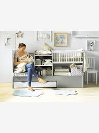lit enfant ludique lit bébé 4 en 1 evolunid blanc gris clair vertbaudet