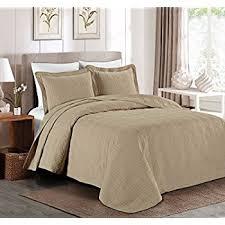 Beige Coverlet Amazon Com Full Queen Size Linen Beige Coverlet 3pc Set