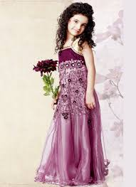 1 purple color wedding wear dress for kid 2014