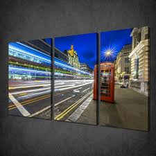 Glass Wall Panels London City Streets Phone Box 3 Panels Canvas Print Picture Wall