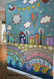 best 25 painted wall murals ideas on pinterest hand painted something like this but with loopy trees and stand up flowers birds owls painted wall mural using acrylic craft paints