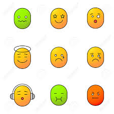 good mood colors smileys color icons set good and bad mood confused excited