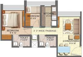 2bhk Plan by 2 Bhk 725 Sq Ft Apartment For Sale In Runwal Forests At Rs