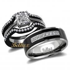 wedding rings his and hers hers 4 ip black matching wedding rings