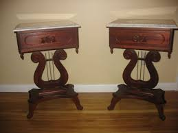 antique wood end tables antique furniture cherry wood harp table marble on victorian lyre