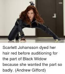 Scarlett Johansson Meme - scarlett johansson dyed her hair red before auditioning for the
