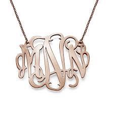 Custom Monogram Necklace 18k Rose Gold Plated Personalized Xxl Statement Monogram Necklace
