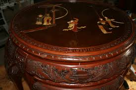 what is a 1940 oriental coffee table with inlaid ivory and jade