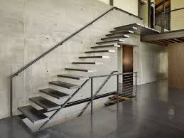 appealing wall mounted chrome metal modern stairs with wall handle