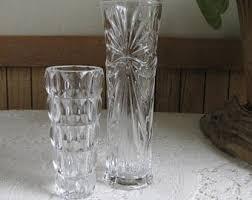 Crystal Flower Vases Hoosier Glass Vase Swirled Clear Florist Ware 4081 4091 Mold