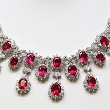 sterling silver necklace set images Sterling silver set with ruby colored cubic zirconia stones set jpg