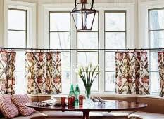 Half Window Curtains Gorgeous Dining Nook With Large Wood Lacquered Table Set