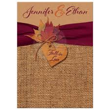autumn wedding invitations fall in wedding invitation faux burlap faux kraft paper