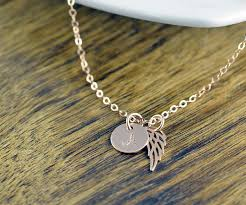 remembrance necklace gold initial necklace personalized angel wing necklace
