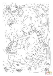a little and a snowman with a present coloring page free