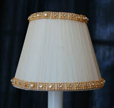 cream fancy gold crystal trim chandelier clip on mini shades mini