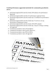 community psychiatric nurse performance appraisal