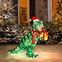 animated tinsel dinosaur christmas decorations christmas yard