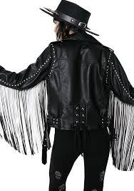 biker jacket killstar harley sinn fringe biker jacket dolls kill