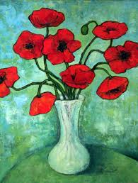 Vase With Red Poppies Stilllife