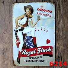 30x20cm pin up las vegas vintage home decor tin sign for wall
