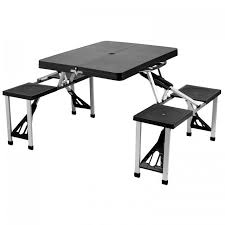 Plastic Folding Picnic Table At Ascot Portable Folding Outdoor Picnic Table With 4 Seats Black