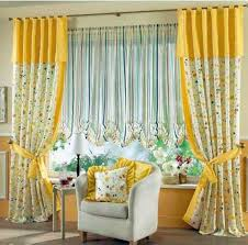 curtains for living room windows yellow white floral curtains combined with stripped blind for