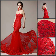 Red And White Wedding Dresses Lace Red Wedding Dress Custom Mermaid Strapless Sweetheart Tulle