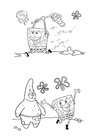 spongebob is catching a jellyfish coloring page free printable