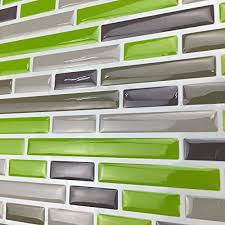 kitchen backsplash peel and stick tiles art3d kitchen backsplash peel stick tile smart brick green 10
