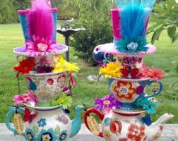 Mad Hatter Tea Party Centerpieces by Items Similar To Stacked Floral Teapot Teacup Centerpiece With