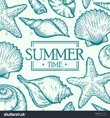 sea shell summer time marine vector stock vector 530005543