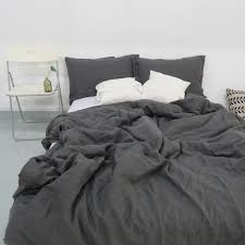 charcoal dark grey stone washed linen duvet cover set purchasing