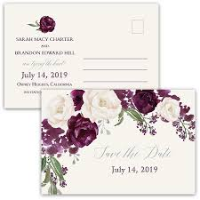 wedding postcards floral wedding save the date postcards purple plum