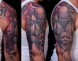Mens Tattoo Cover Up Ideas 25 Tattoo Designs Clown Tattoos Half Face Evil Clown Tattoo