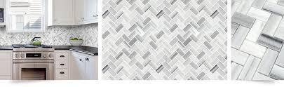 Marble Tile Kitchen Backsplash White Gray Herringbone Mosaic Kitchen Backsplash Pertaining To
