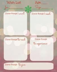 printable birthday wish list template with christmas theme vlcpeque