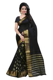 Buy Green Plain Cotton Silk Buy Black And Gold Plain Cotton Silk Saree With Blouse Online