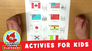 flags of the world activity for kids maple leaf learning play