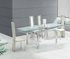 White Tile Kitchen Table by Dining Room Glass Contemporary Dining Table Design With Cream
