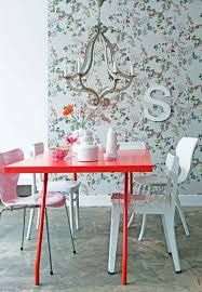 Red Dining Room Sets by Red Dining Table With White Chairs Floral Wallpaper Metallic