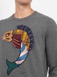 fish sweater lyst burberry langstone fish embroidered sweatshirt in gray for